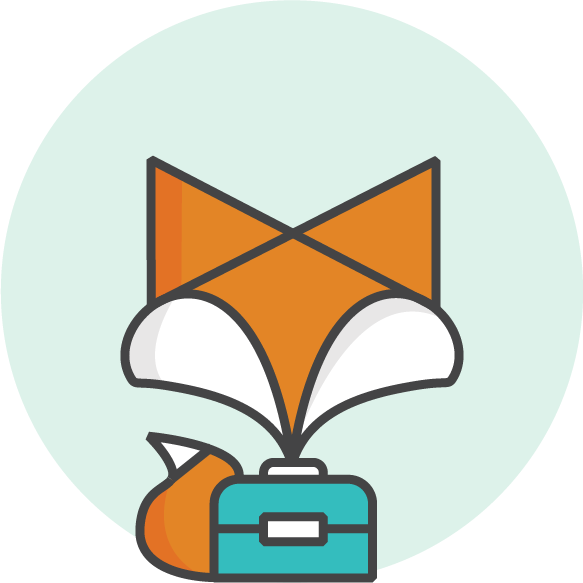 LunchFox Logo - App for busy parents to order fresh, healthy lunchboxes from local cafes for delivery to school. Low commissions, school fundraising, eat the rainbow